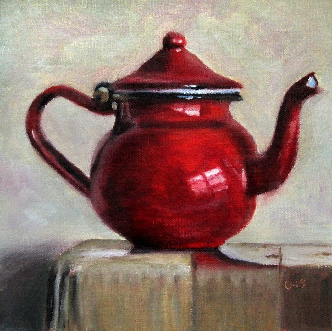 Red Teapot original fine art by Ulrike Miesen-Schuermann