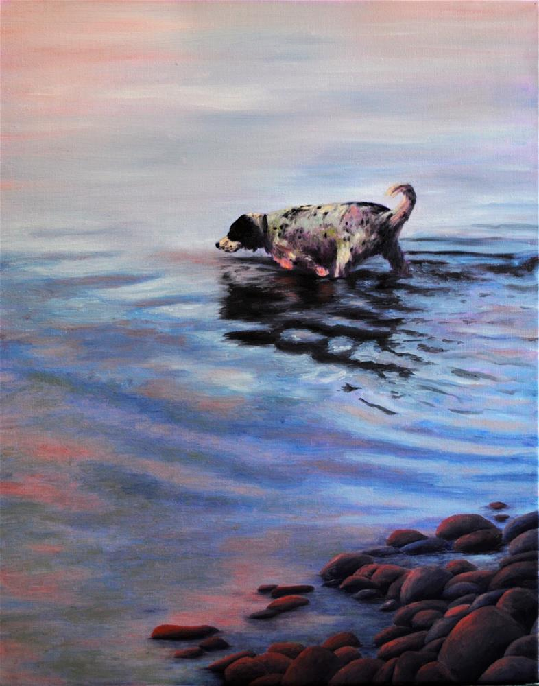 """Water Dog"" original fine art by Darla Brock"