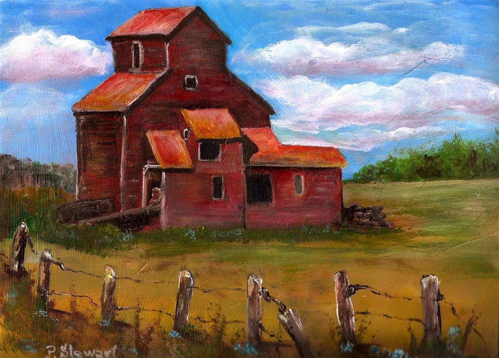 """""""9x12 Grain Elevator Acrylic Painting on heavy paper, a Landscape Scene Farm"""" original fine art by Penny Lee StewArt"""