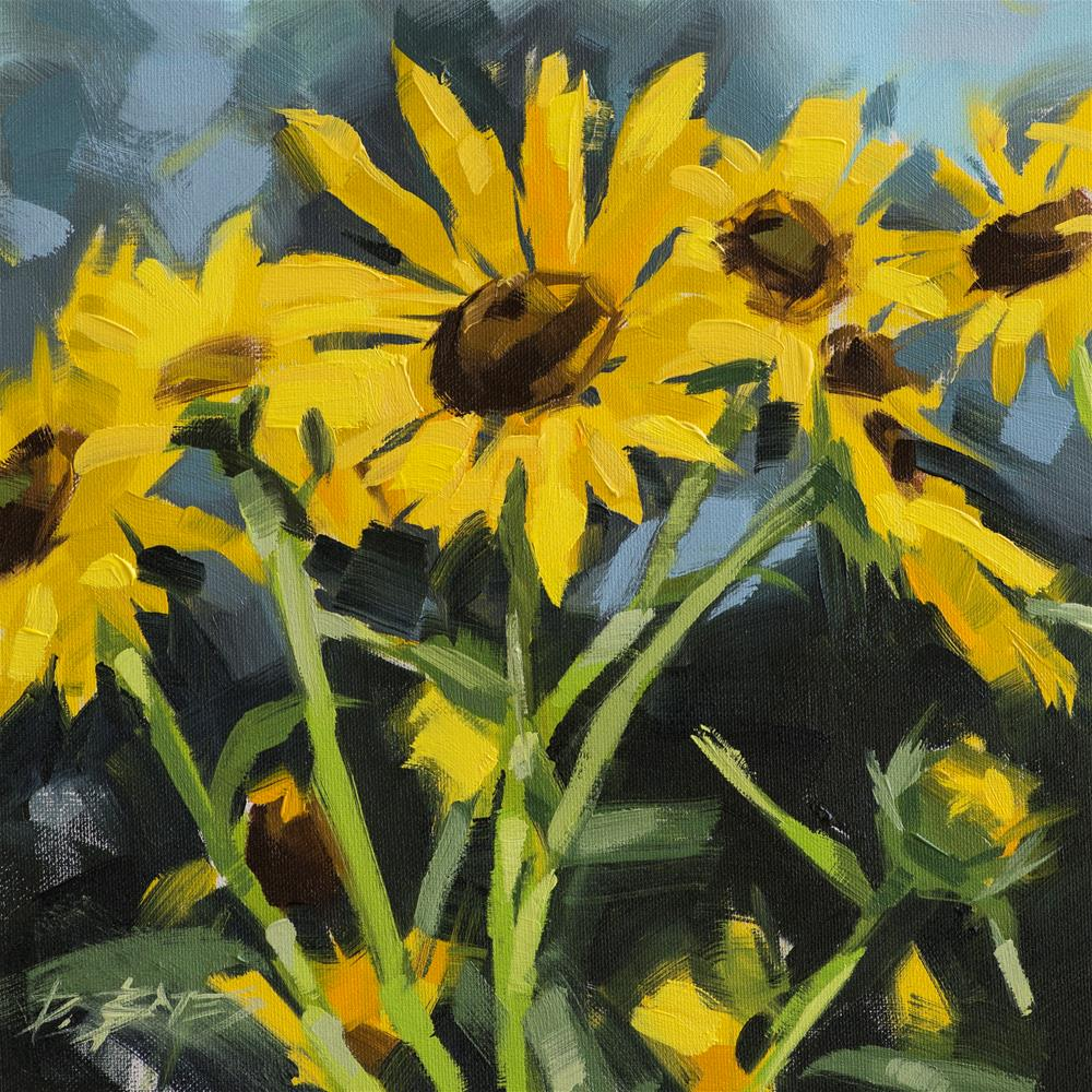 """Sunflowers"" original fine art by David Bates"