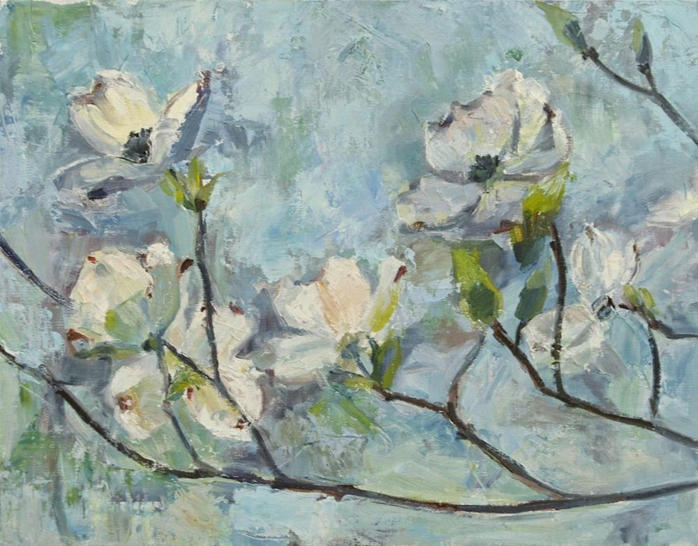 """Dogwood Flowers, Spring Decor, Original oil by Carol DeMumbrum"" original fine art by Carol DeMumbrum"