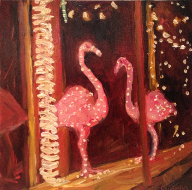 """Storefront Flamingos, Day 80"" original fine art by Claudia L Brookes"