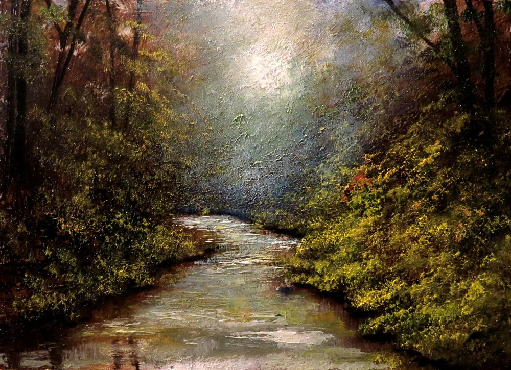 """Misty River"" original fine art by Bob Kimball"