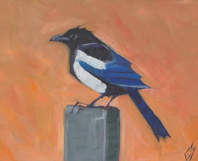 """Magpie"" original fine art by Elizabeth See"