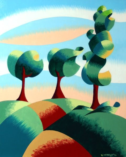 """""""Mark Webster - Three Trees - Abstract Landscape Oil Painting"""" original fine art by Mark Webster"""