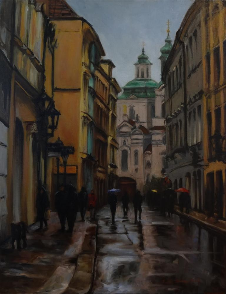 """A Street in Prague"" original fine art by Jonelle Summerfield"