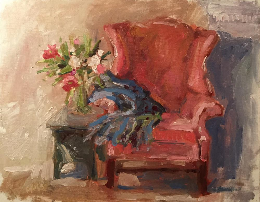 """Red Chair with Flowers"" original fine art by Barb Walker"