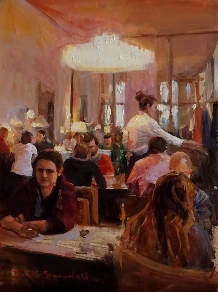 """""""Busy Cafe"""" original fine art by Jonelle Summerfield"""