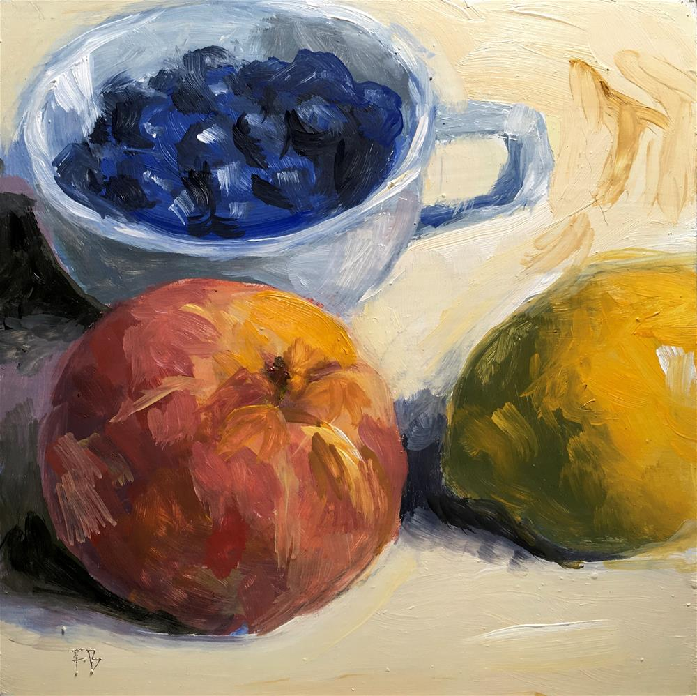 """077 PLB Peach Lemon Blueberries"" original fine art by Fred Bell"