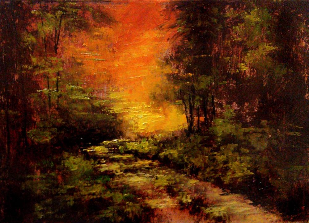 """Sunset Through the Woods"" original fine art by Bob Kimball"