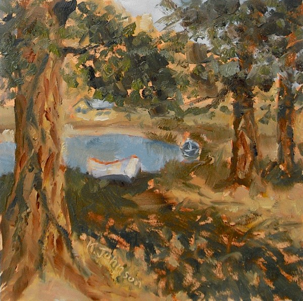 """The Boy's Pond"" original fine art by Kathy Johnson"