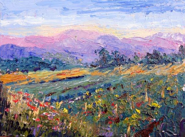 """Provence landscape knife painting #2 by Marion Hedger"" original fine art by Marion Hedger"