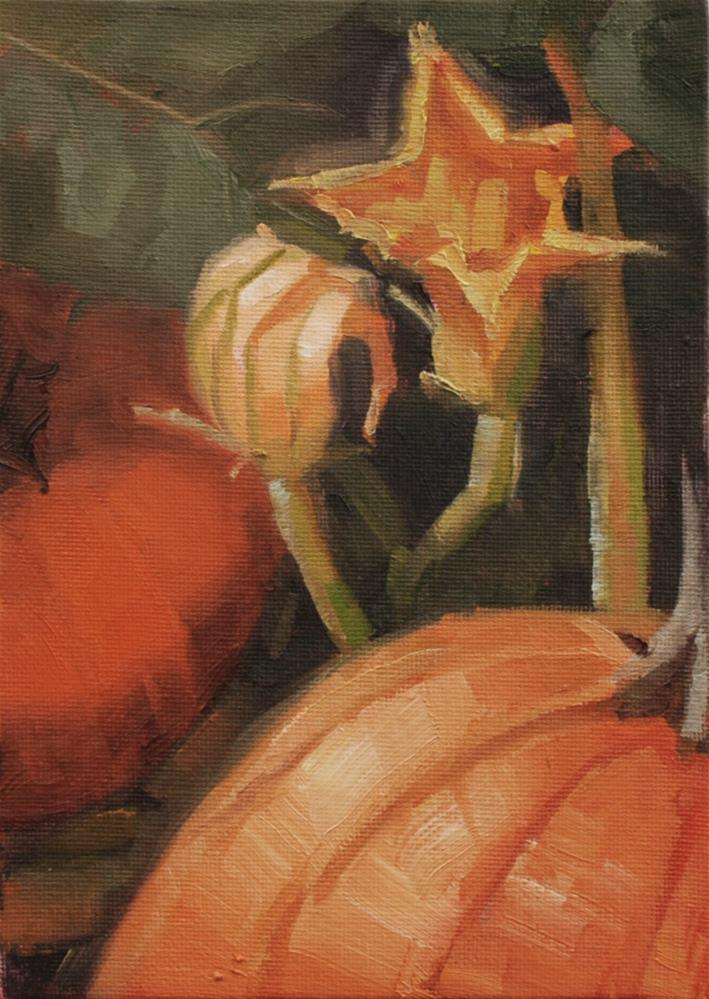 """Pumpkin Flower Study 1"" original fine art by Susan McManamen"