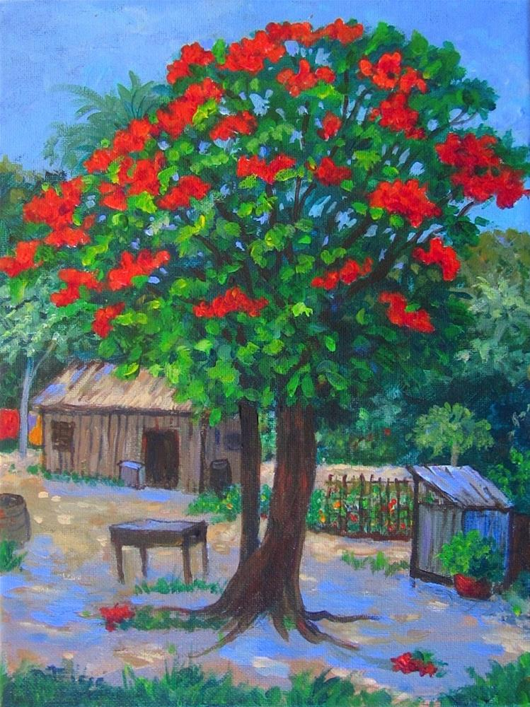 """Flame Tree"" original fine art by Patricia Musgrave"