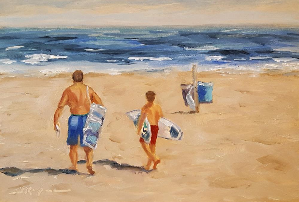 """Father and Son Day at the Beach"" original fine art by Shelley Koopmann"