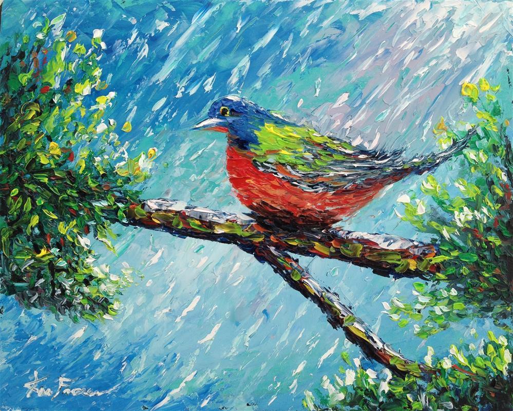 """Hunkering in the rain"" original fine art by Ken Fraser"