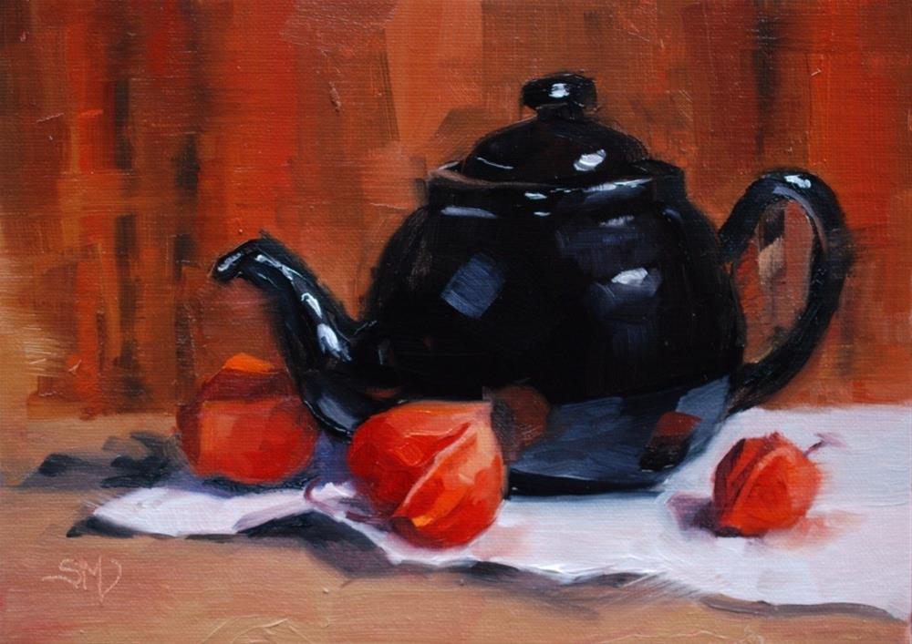 """No. 519 Teapot and Lanterns"" original fine art by Susan McManamen"