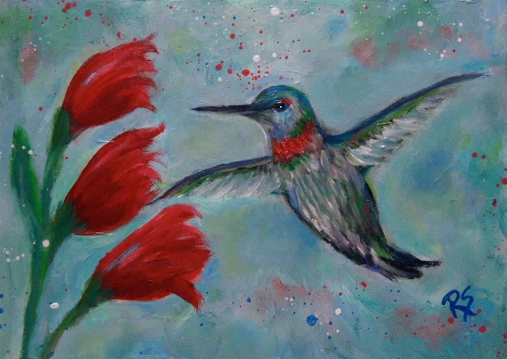 """Hummingbird and Blooms"" original fine art by Roberta Schmidt"