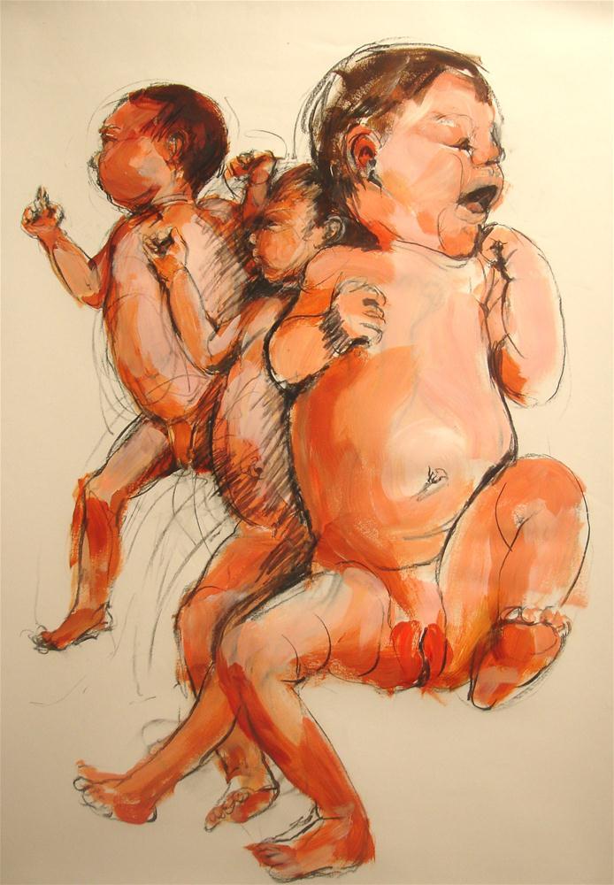 """Dancing Babies"" original fine art by Linda Lowery"