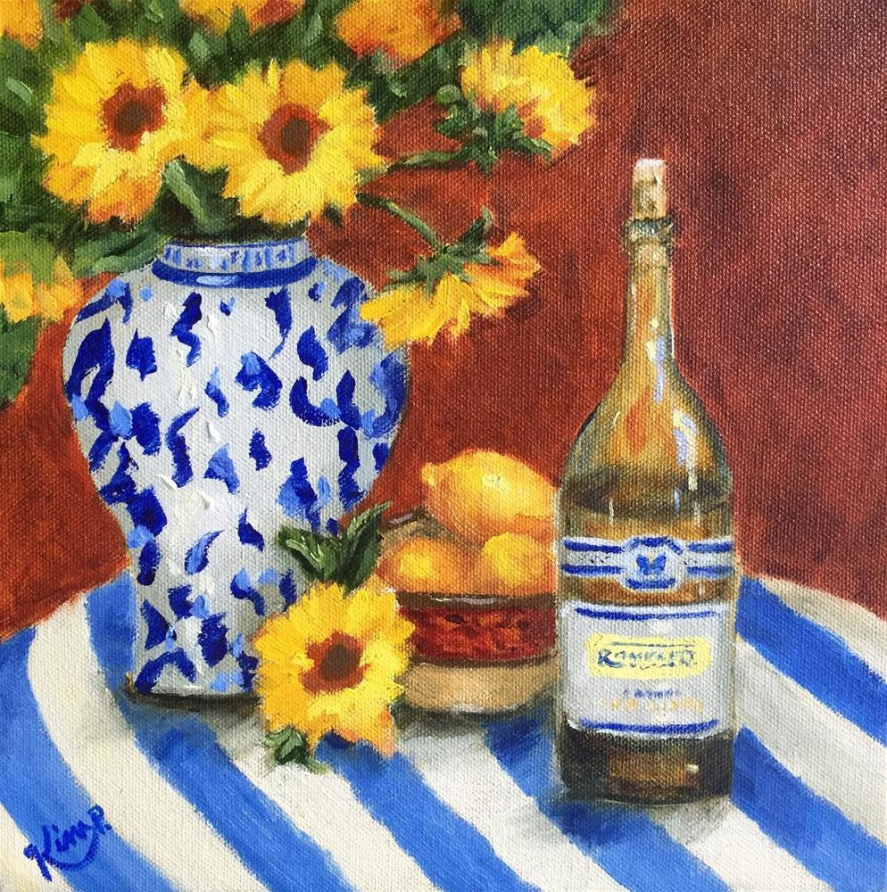 """A Few of My favorite Things Still life with sunflowers, lemons, wine, blue and white"" original fine art by Kim Peterson"