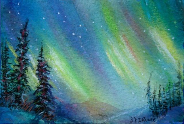 """Northern LIghts Study 4"" original fine art by Jackie Irvine"
