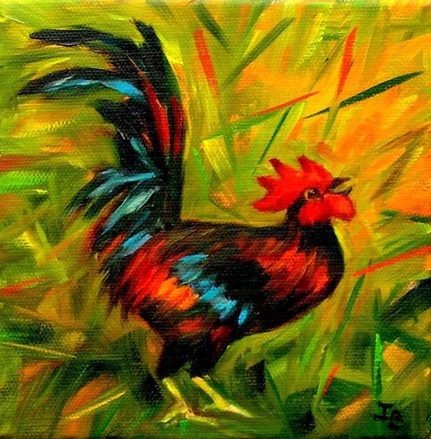 """Rooster"" original fine art by Irina Beskina"