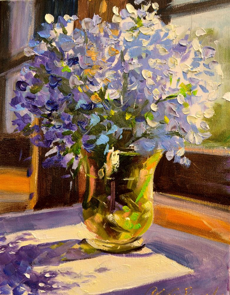 """BLUE PELARGONIUM"" original fine art by Cecilia Rosslee"