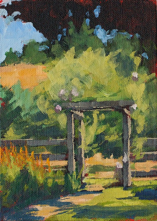 """Back Field Fruit Trees"" original fine art by J. Farnsworth"
