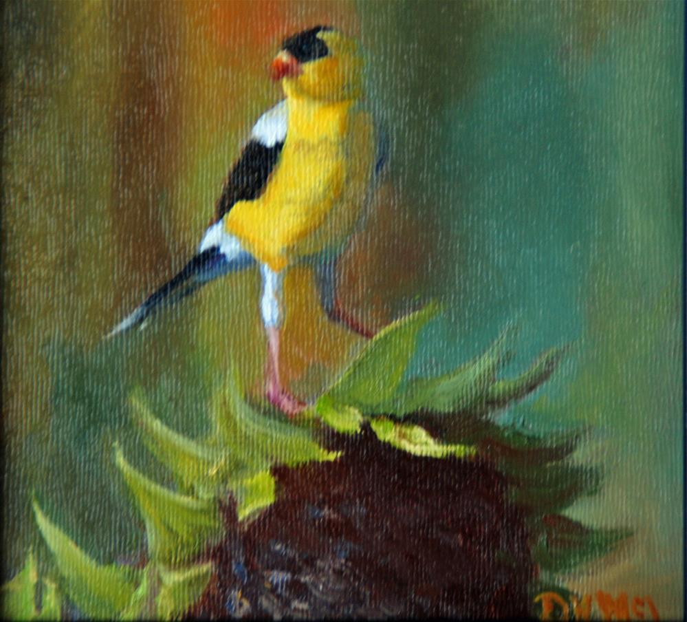 """Gold Finch in Sunflower Field"" original fine art by Dorothy McLennan"