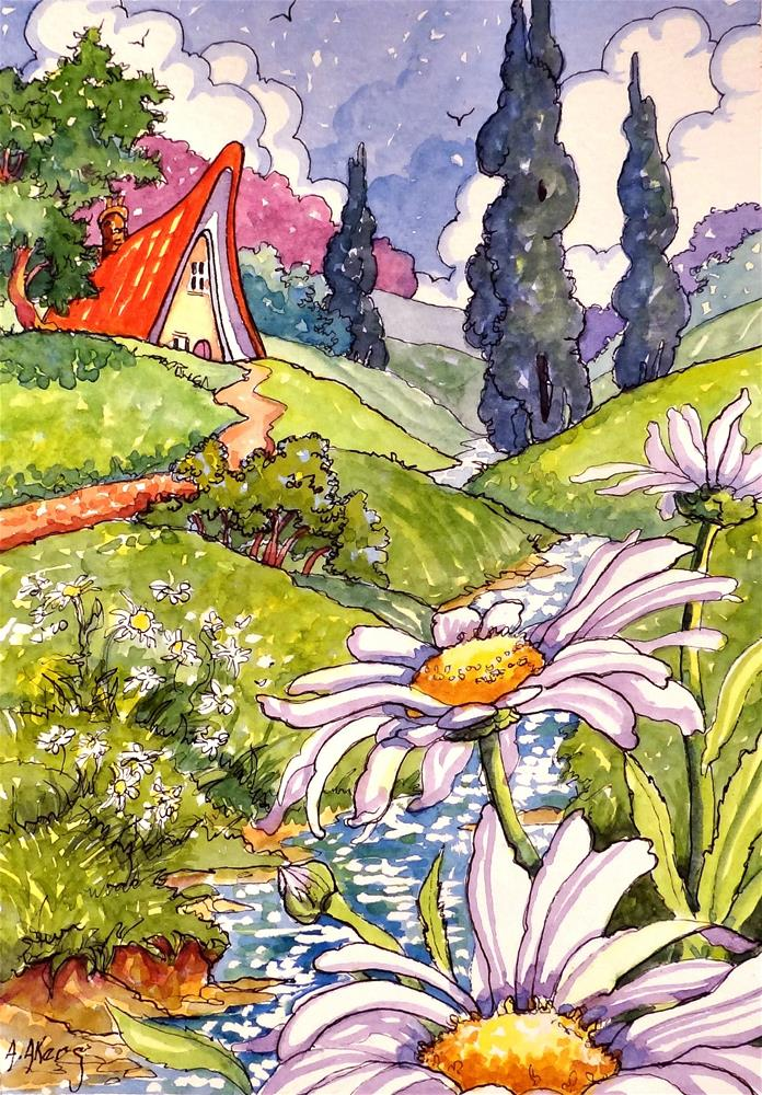 """Brookside Daisies Storybook Cottage Series"" original fine art by Alida Akers"