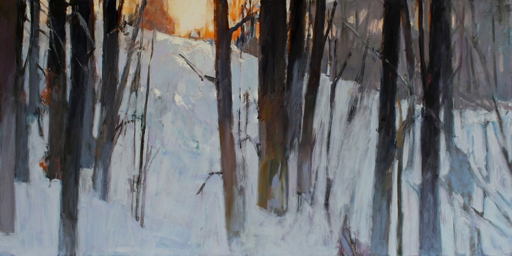 """Sunset Trees and Snow"" original fine art by Gretchen Hancock"