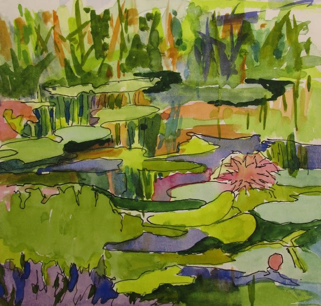 """Lily Pads 6x6 watercolor and ink.  I spent most of my winter painting this scene in a lovely nature preserve in Naples, FL"" original fine art by Mary Sheehan Winn"