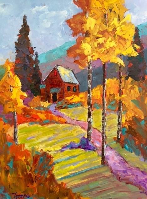"""Rocky Mountain Cabin"" original fine art by Liz Zornes"