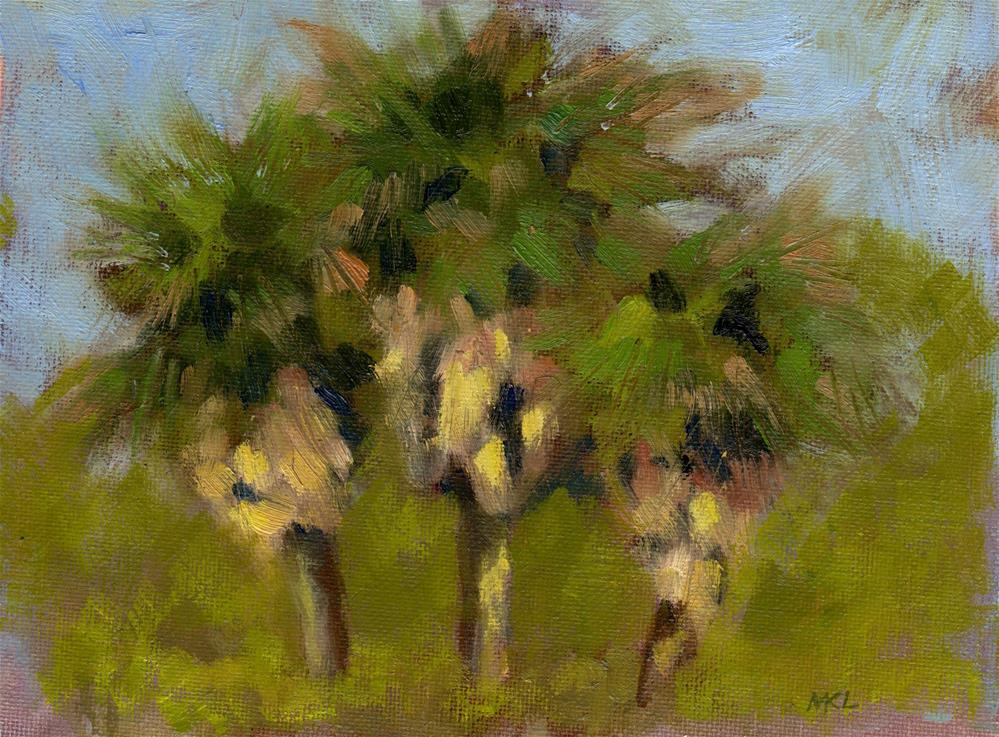 """Three Palms at Central"" original fine art by Marlene Lee"