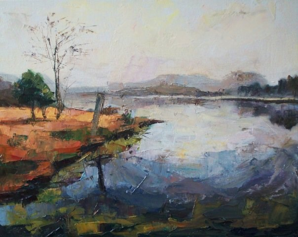 """Foggy Lake"" original fine art by Nava Judith"