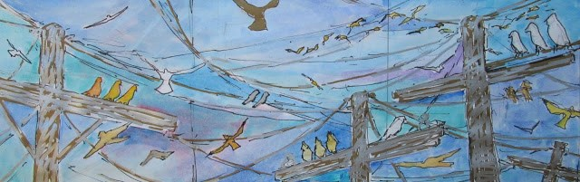 """Birds in Flight Triptych- this is a work in progress. Check out my blog for progress reports."" original fine art by Mary Sheehan Winn"