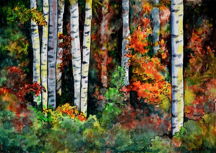 """How Many Birch Trees Do You See?"" original fine art by Geri Graley"