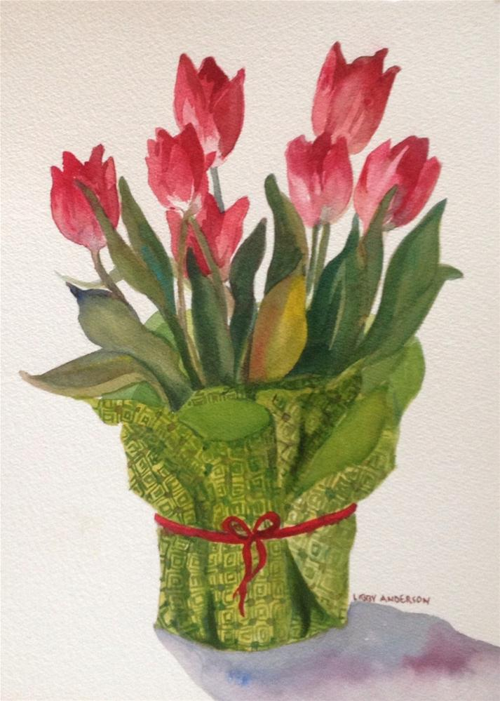"""Well Dressed Tulips"" original fine art by Libby Anderson"