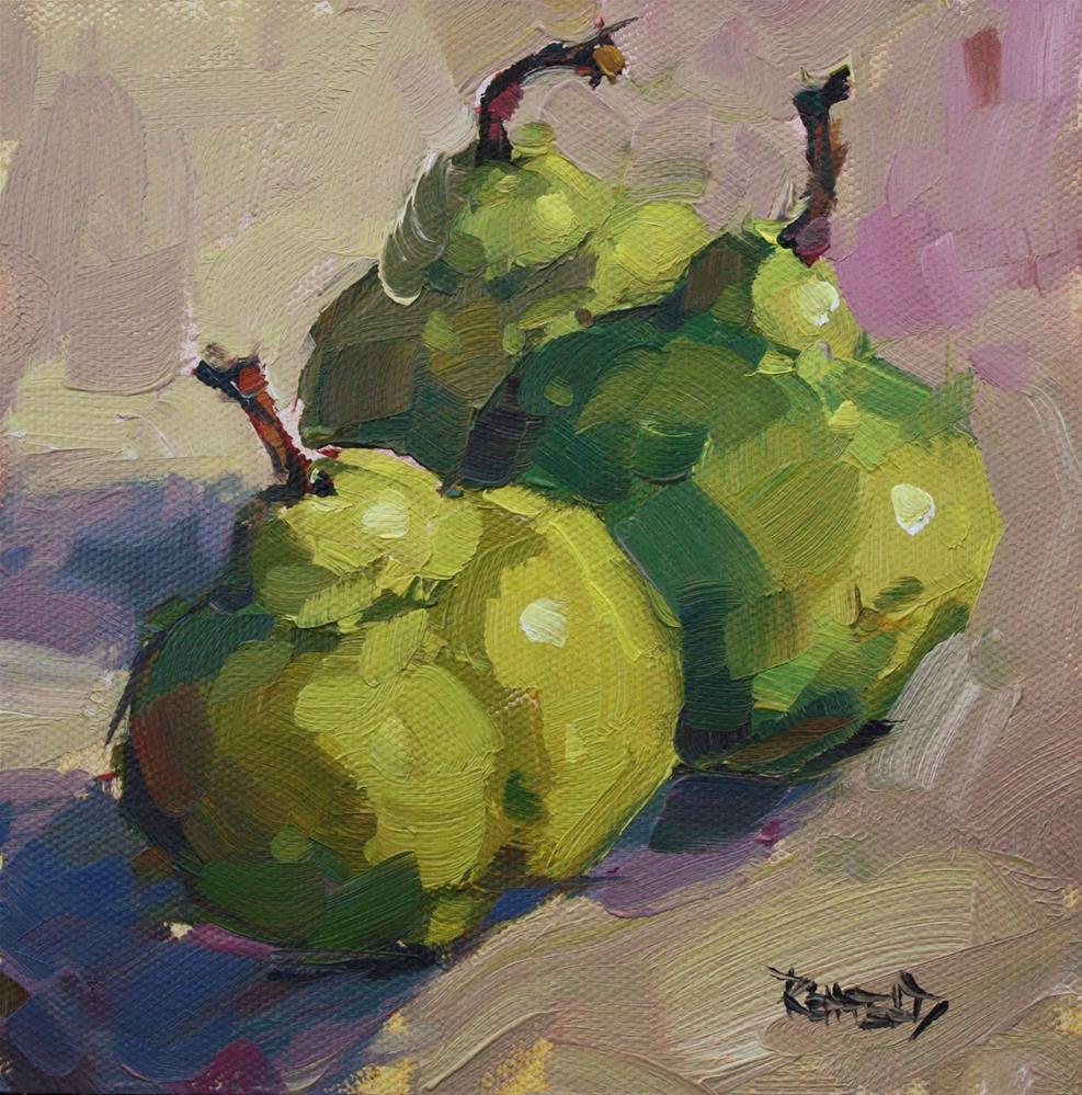 """Jubilant Pears"" original fine art by Cathleen Rehfeld"