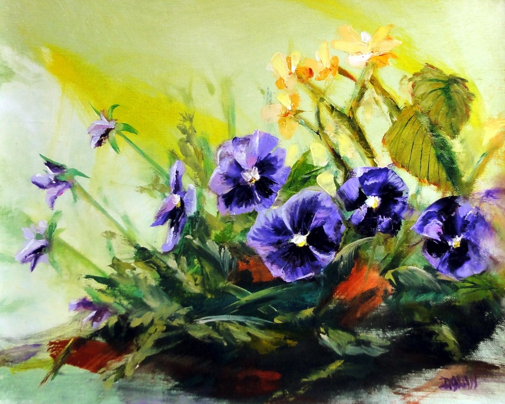 """Pansies And Begonias"" original fine art by Dalan Wells"