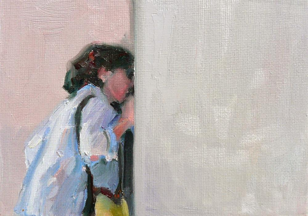 """Peekaboo,figure,oil on canvas,5x7,price$200"" original fine art by Joy Olney"