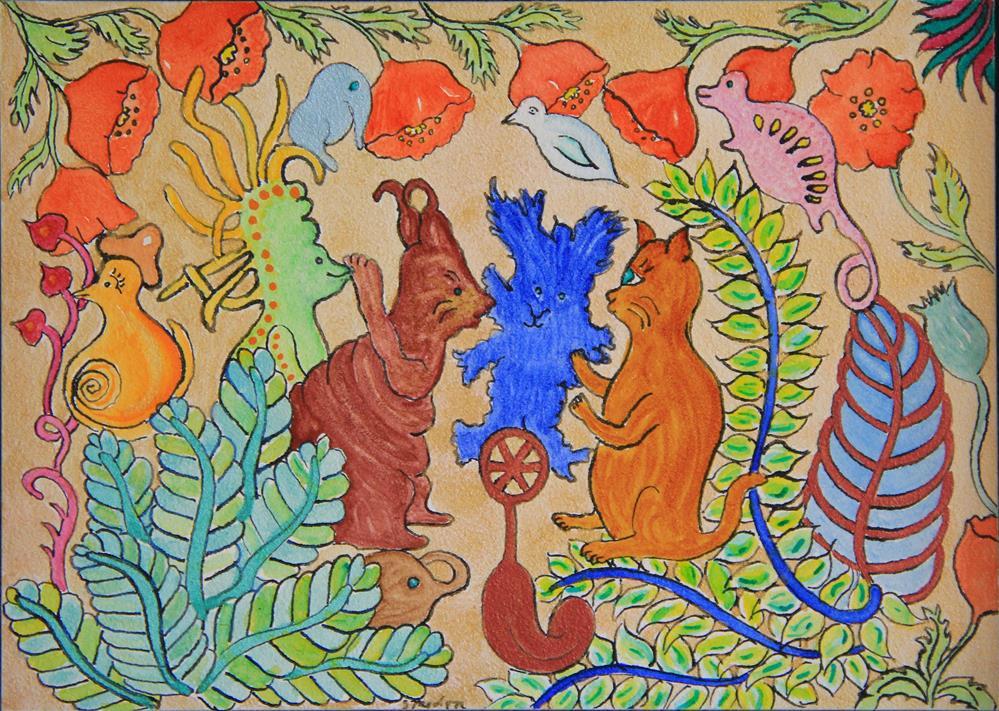 """""""Cat Scratching"""" original fine art by Susan Medyn"""