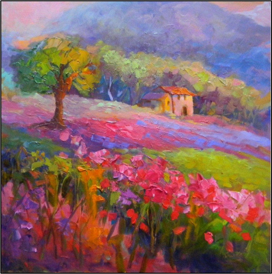 """Spring Meadows, 24x24, oil on board, framed Tuscan art, paintings of Italy, Tuscany, Umbria,"" original fine art by Maryanne Jacobsen"