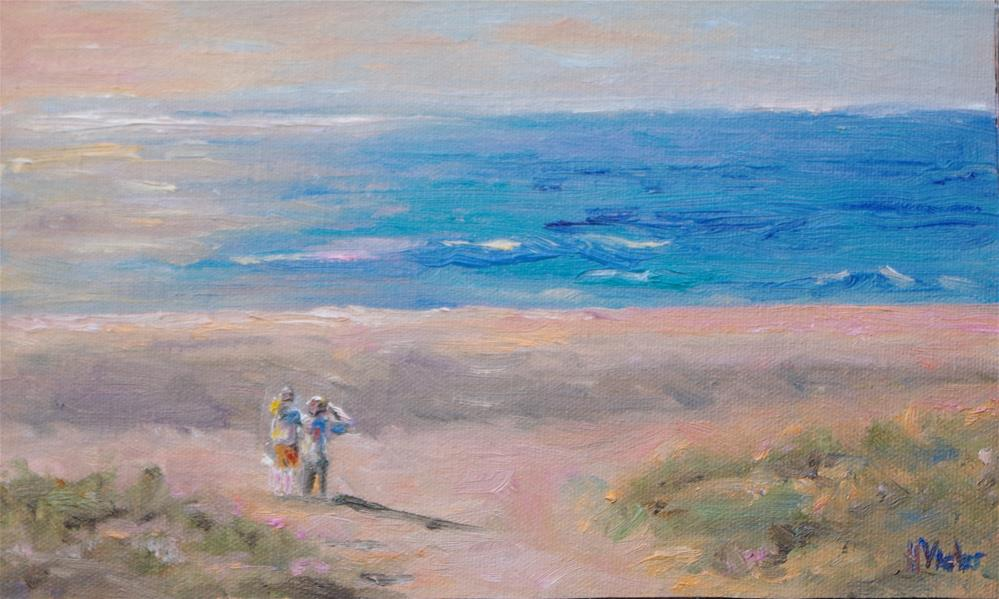 """Sisters on Todos Santos Beach"" original fine art by Helen Viebrock Hamel"