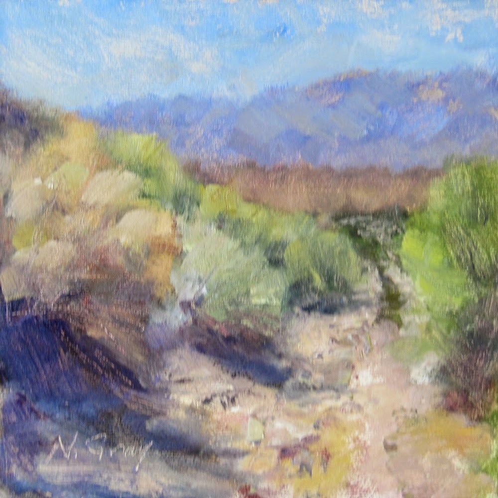 """Rabbitbrush Road"" original fine art by Naomi Gray"