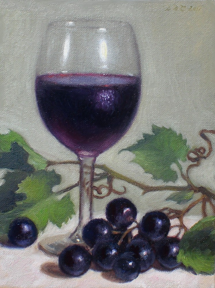 """Black Grapes and Cabernet Sauvignon"" original fine art by Debra Becks Cooper"