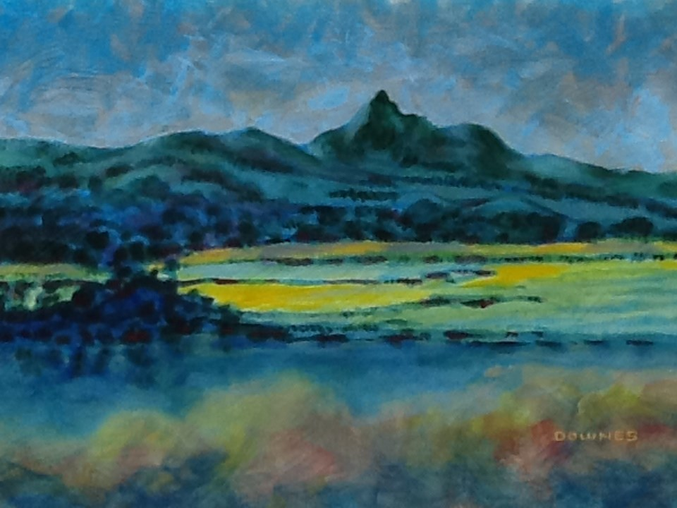 """086 MOUNT WARNING 19"" original fine art by Trevor Downes"