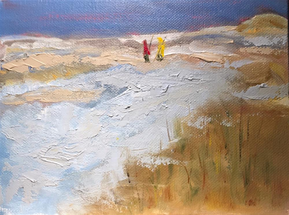 """""""Clamming With The Tide"""" original fine art by Patty Barnes"""