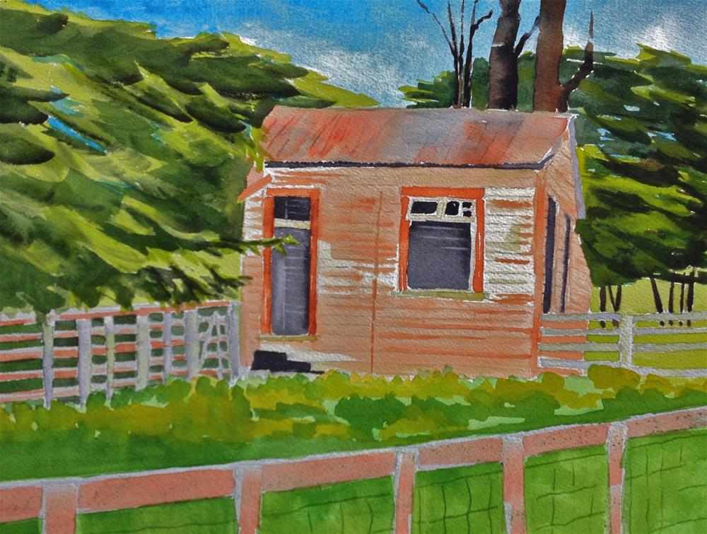 """Tawanui Logger's Cottage"" original fine art by Dana Richards"
