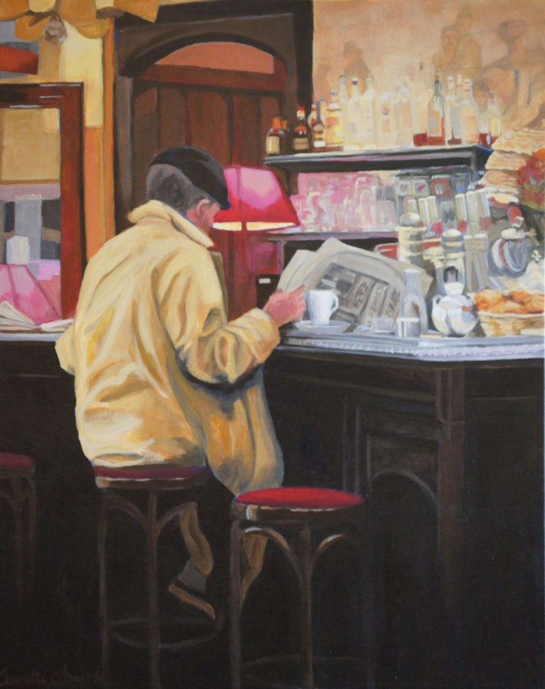 """The Morning Paper"" original fine art by Jeanette Baird"